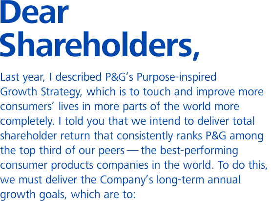 PG 2011 AR Shareholder Letter Fiscal 2011 Business Intelligence – Letter to Shareholders Example